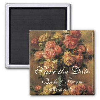 Vintage Save the Date! Roses in a Vase 3 by Renoir Fridge Magnet