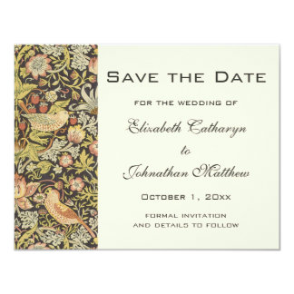 Vintage Save the Date William Morris Flowers Birds Card