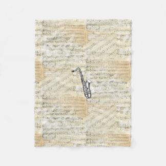 Vintage Saxophone Sheet Music Fleece Blanket