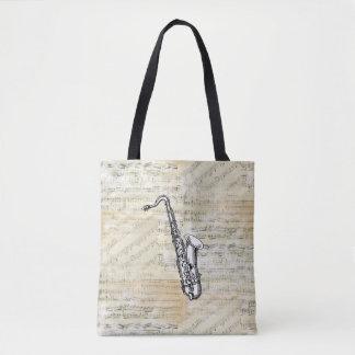 Vintage Saxophone Sheet Music Tote Bag