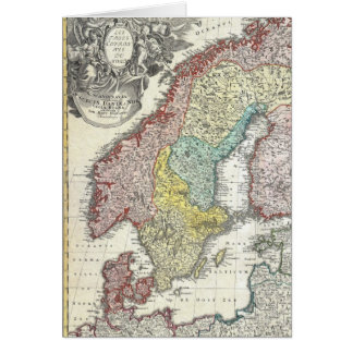 Vintage Scandinavian Map Card