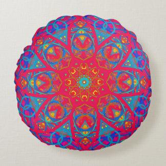 Vintage Scarlet Quilt Round Decorator Pillow