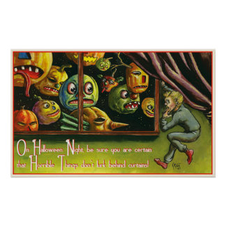 Vintage scary pumpkins party decor poster