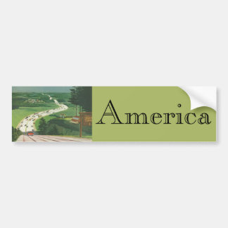 Vintage Scenic American Highways, Cars Road Trip Bumper Sticker
