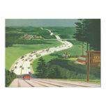 Vintage Scenic American Highways, Cars Road Trip 13 Cm X 18 Cm Invitation Card