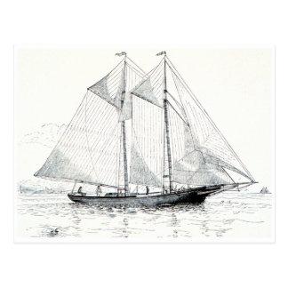 Vintage Schooner Sailboat Postcard