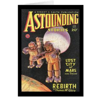 Vintage Sci Fi Comic Astounding Stories 1934 Greeting Card