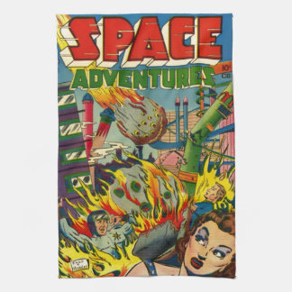 VINTAGE SCI FI COMICS (SPACE ADVENTURES) TEA TOWEL