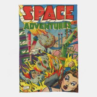 VINTAGE SCI FI COMICS (SPACE ADVENTURES) TEA TOWELS
