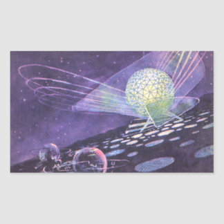 Vintage Science Fiction, a Glowing Orb with Aliens Rectangular Sticker