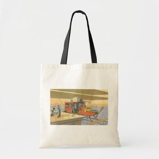Vintage Science Fiction Airplane Helicopter Limo Canvas Bags