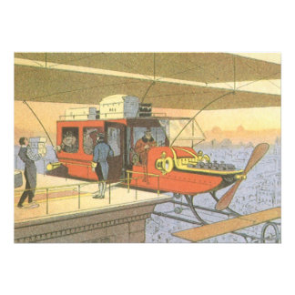 Vintage Science Fiction Airplane Helicopter Limo Custom Invite