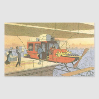 Vintage Science Fiction Airplane Helicopter Limo Rectangular Sticker