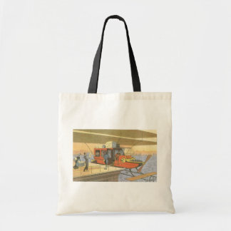 Vintage Science Fiction Airplane Helicopter Limo Budget Tote Bag