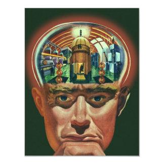 Vintage Science Fiction Alien Brain Exposing a Lab Announcement