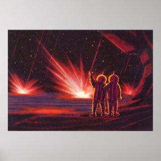 Vintage Science Fiction Alien Red Planet Explosion Poster