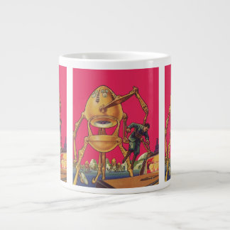 Vintage Science Fiction Alien Robot Holding Man Jumbo Mug