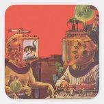 Vintage Science Fiction, Alien Steam Punk Helmets Square Sticker