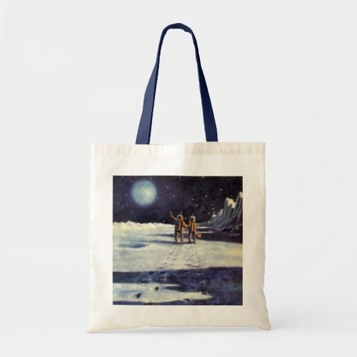 Vintage Science Fiction Aliens on the Moon Tote Bags