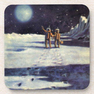 Vintage Science Fiction Aliens on the Moon Drink Coasters