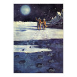 Vintage Science Fiction Aliens on the Moon 5x7 Paper Invitation Card