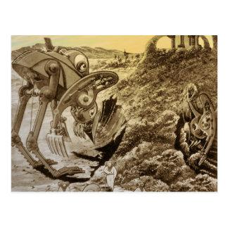 Vintage Science Fiction Aliens Planet Construction Postcard