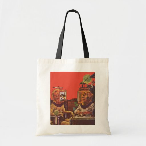 Vintage Science Fiction Aliens With Video Helmets Tote Bag