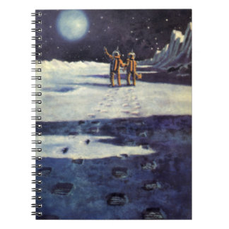 Vintage Science Fiction Astronaut Aliens on Moon Notebook