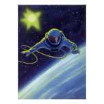 Vintage Science Fiction Astronaut on a Spacewalk Poster