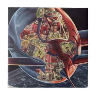Vintage Science Fiction Astronaut Rocket Spaceship Ceramic Tile