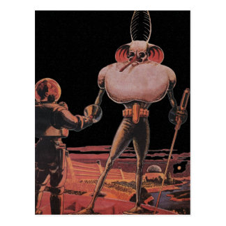 Vintage Science Fiction Astronaut Shake Hand Alien Postcard