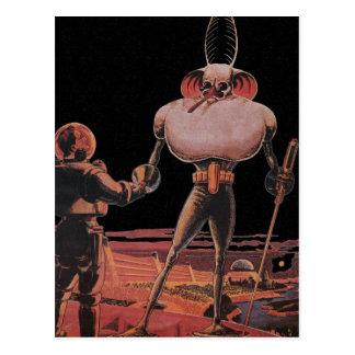 Vintage Science Fiction Astronaut Shake Hand Alien Postcard