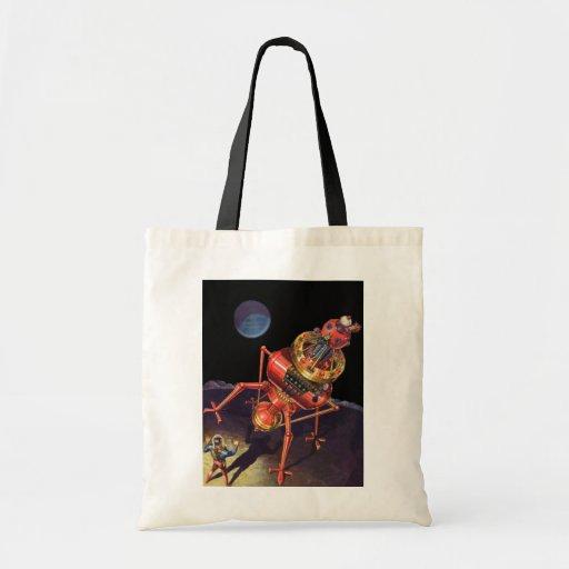 Vintage Science Fiction Astronaut with Alien Robot Canvas Bags