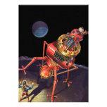 Vintage Science Fiction Astronaut with Alien Robot Invitation
