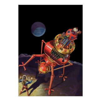Vintage Science Fiction Astronaut with Alien Robot Poster
