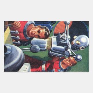 Vintage Science Fiction Astronauts Fixing a Robot Rectangular Sticker