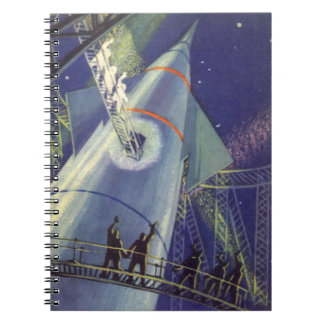 Vintage Science Fiction Astronauts on Rocket Ship Spiral Note Books