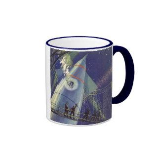 Vintage Science Fiction Astronauts Wave Goodbye Coffee Mug