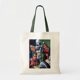 Vintage Science Fiction Astronauts with a Robot Tote Bags