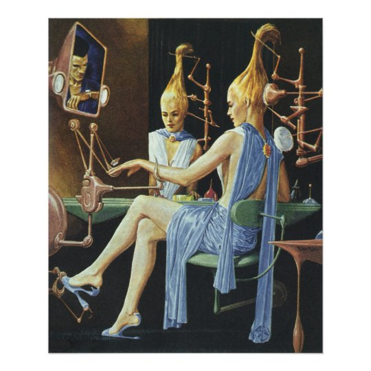 Vintage Science Fiction Beauty Salon Spa Manicures Poster