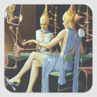 Vintage Science Fiction Beauty Salon Spa Manicures Square Sticker