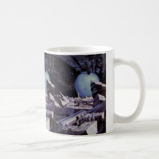 Vintage Science Fiction, Blue Planet with Aliens Classic White Coffee Mug