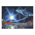 Vintage Science Fiction Blue Spaceship Over Planet 5x7 Paper Invitation Card