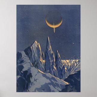 Vintage Science Fiction, Crescent Moon Snow Planet Poster