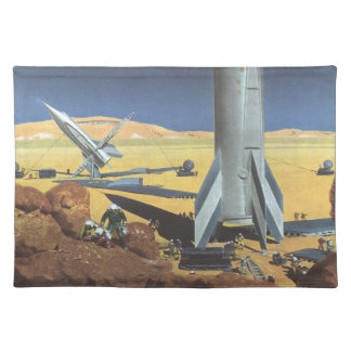 Vintage Science Fiction Desert Planet with Rockets Placemat