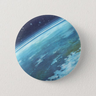 Vintage Science Fiction, Earth at Night with Stars 6 Cm Round Badge