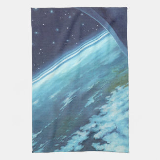 Vintage Science Fiction, Earth at Night with Stars Tea Towels