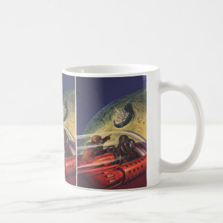 Vintage Science Fiction Flying to the Lunar City Classic White Coffee Mug