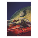 Vintage Science Fiction Flying to the Lunar Cuty Posters