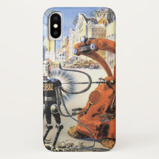 Vintage Science Fiction Futuristic City Alien Wars iPhone X Case